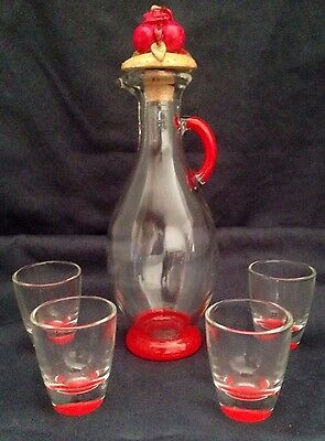- Small Glass Pitcher Decanter w Fruit Stopper & Shot Glasses Set FRANCE