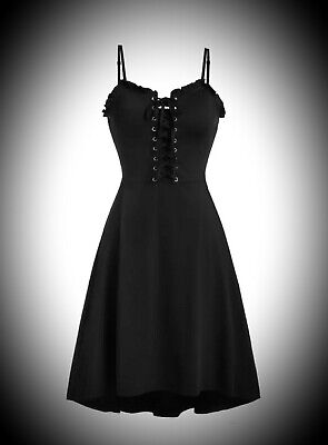 New Black Gothic Lace Up Corset Front Strappy Summer Sun Dress size 3XL 14 16 18