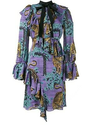 Gucci size 40 IT US size 4 Bengal Tiger Print Dress in Purple with Ruffled Trim