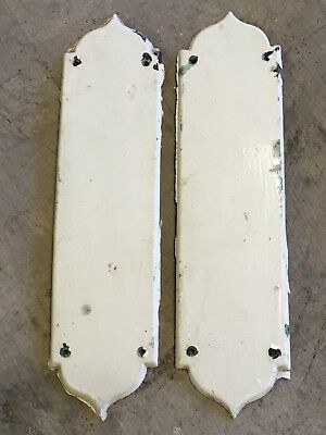 Salvaged Victorian Painted Mahogany Old Wooden Door Finger Plates 30.4cm High