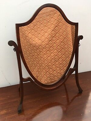 Antique Old Mahogany Cheval Dressing Table Shield Shaped Mirror 68.5x55.5cm