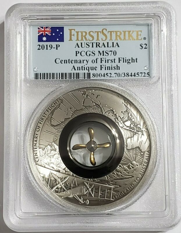 2019 2 Oz Silver 100TH ANNIV. OF FIRST FLIGHT MS70 First Strike Coin.