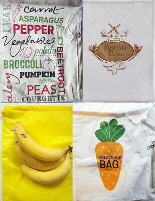 Potato Spud Storage Bag Cotton Lined Drawstring Top Kitchen Banana Vegetable Veg