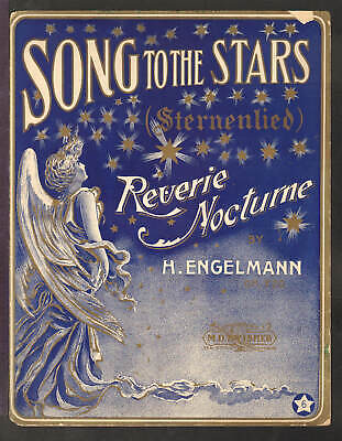 Song To The Stars ENGELMANN 1904 Piano Solo Reverie ANGEL Sheet Music Q26