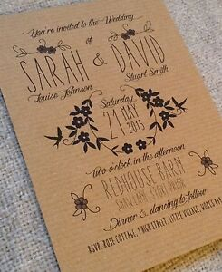Personalised wedding invitations Rustic Vintage Kraft Brown Floral Shabby Chic