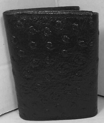 NEW MEN TRI-FOLD OSTRICH EMBOSSED LEATHER WALLET BLACK CARD HOLDER GIFT FOR HIM (Ostrich Tri Fold Wallet)