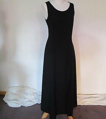 80s Dresses | Casual to Party Dresses DRESS Black Sleeveless Above ankle Off centre front split LBD 90's Vintage Sz 10 $30.88 AT vintagedancer.com
