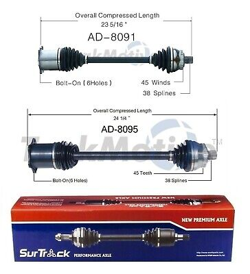 For Audi A4 S4 RS4 FWD AWD 2002-2009 Pair of 2 Front CV Axle Shafts SurTrack Set