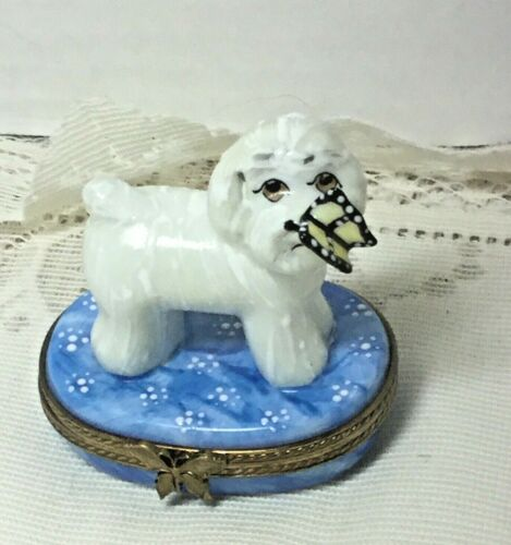 Bichon Frise Limoges Vintage Trinket Box Limited Edition  500 Made in France