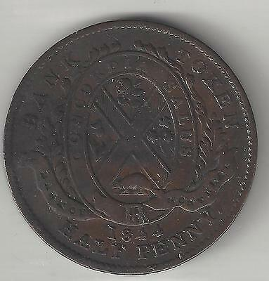 Bank Of Montreal Canada  1844  Sou  1 2 Penny Token   Copper  Kmtn18  Extra Fine