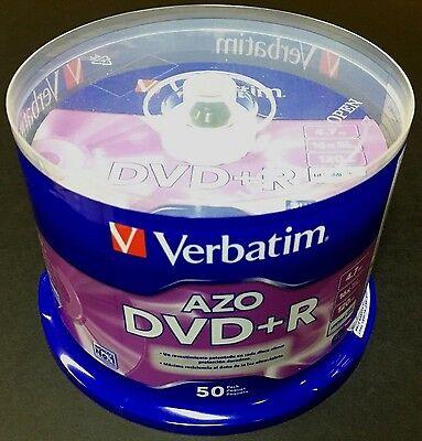 50 VERBATIM AZO Blank DVD+R 16X Branded 4.7GB  Disc 50pk Spindle 95037