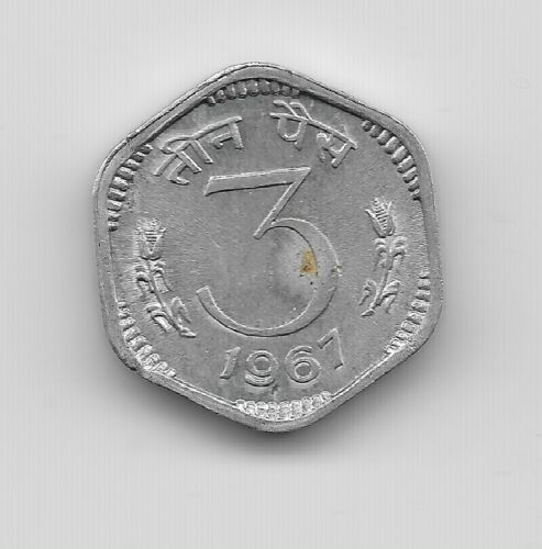World Coins - India 3 Paise 1967 Coin Km# 14