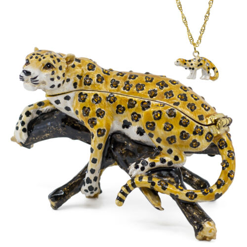 Bejeweled Resting Leopard Enameled Pewter Trinket Box With Mini Pendant Necklace