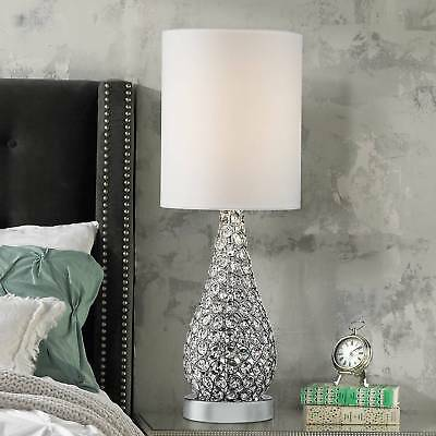 Modern Table Lamp Crystal Bead Silver Gourd White for Living Room -