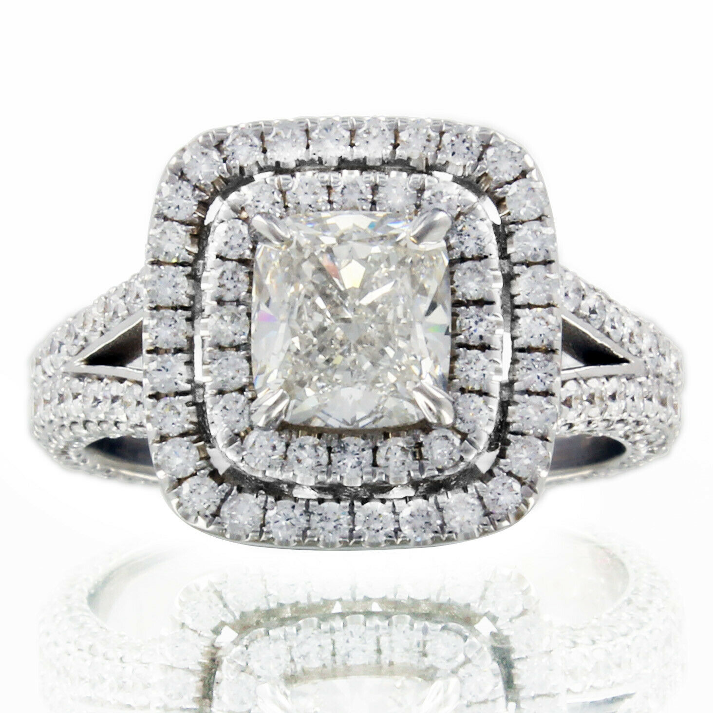 GIA Certified Diamond Engagement Ring 4.62 carat Cushion Cut Double Halo 18k