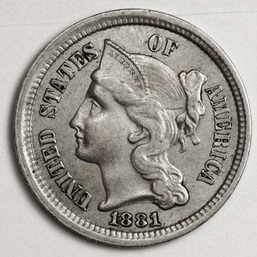 1881 3 Cent Nickel.  A.U. 105296