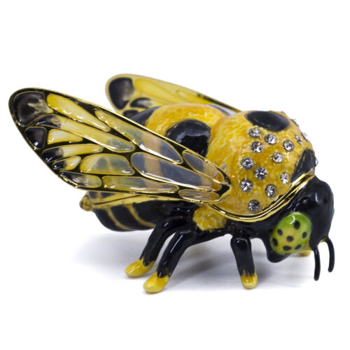 """Bejeweled Enameled Pewter Bumble Bee Trinket Box With Crystals 2.5"""" Long New!"""