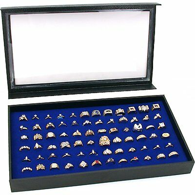 72 Ring Blue Jewelry Box Display Case Magnetic Lid