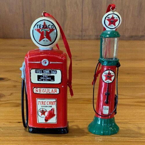 Two (2) Vintage Texaco Gas Pump Christmas Ornaments E1020
