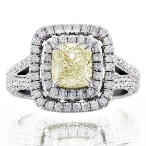 Diamond Engagement Ring GIA Certified  4.25 Carat Fancy Yellow Cushion Platinum