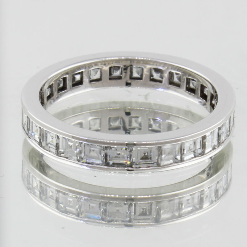 Asscher Cut 18k Gold Eternity Dia Certified Diamond Ring 5.00 Carat