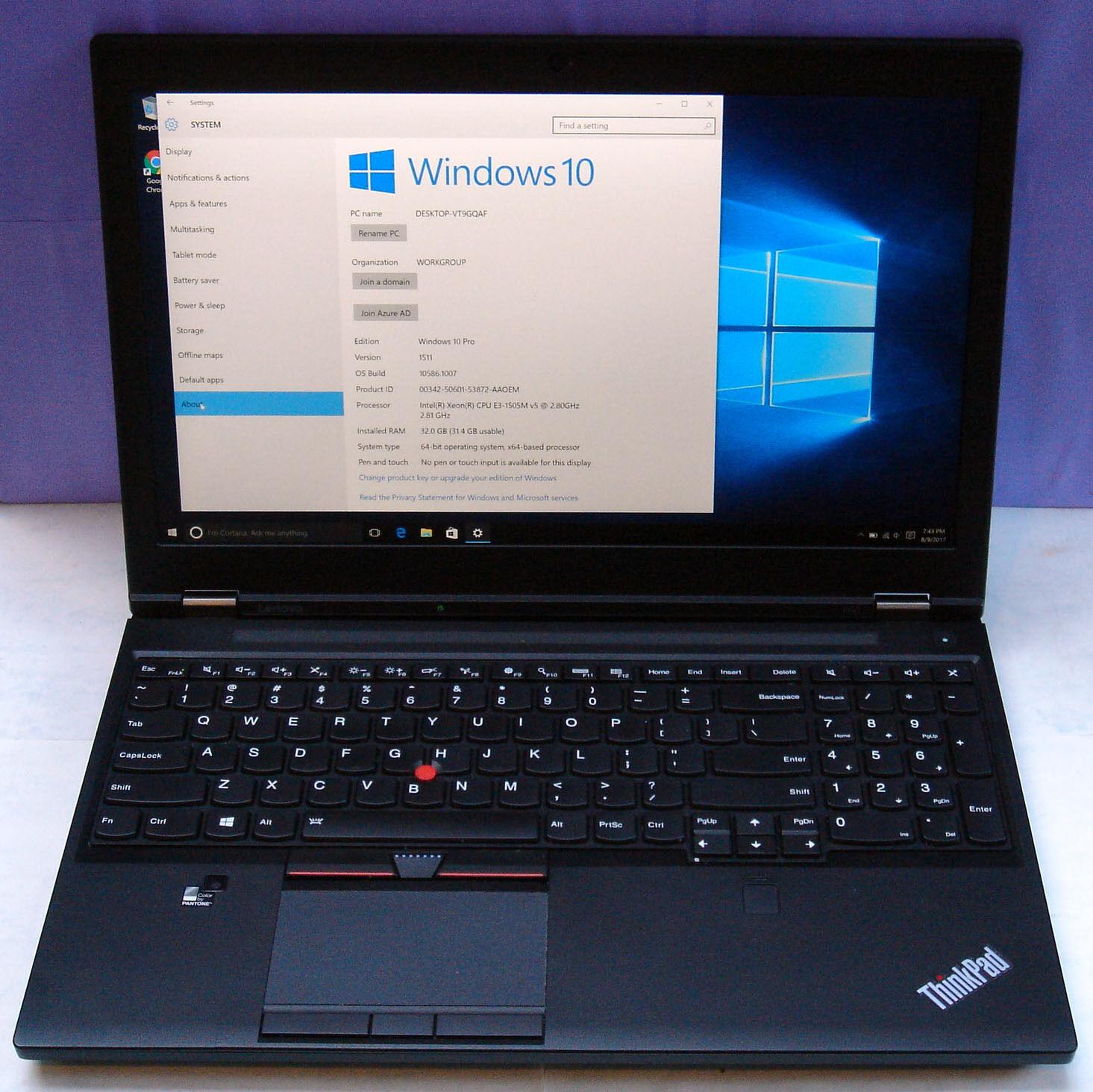 Thinkpad P50 Xeon E3-1505M 32GB 4K 512GB 4K, 2 Years Upgraded Warranty