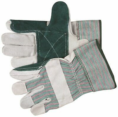 MCR Safety 1361 Select Shoulder Double Leather Palm Gloves, Pearl/Green, - Double Palm Select Leather