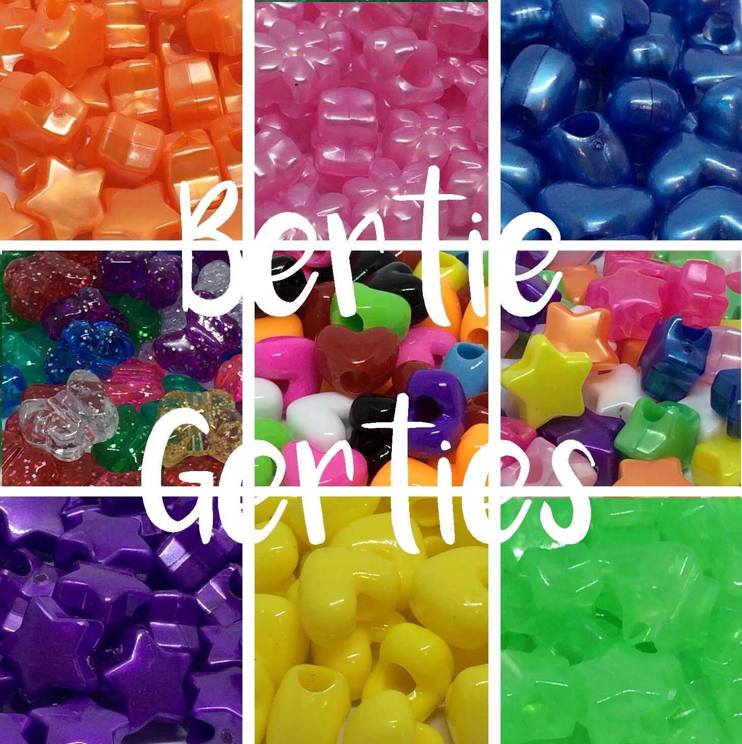 *3 FOR 2* 50/100 Shape Pony Beads - Stars, Butterflies, Hearts, flowers etc.