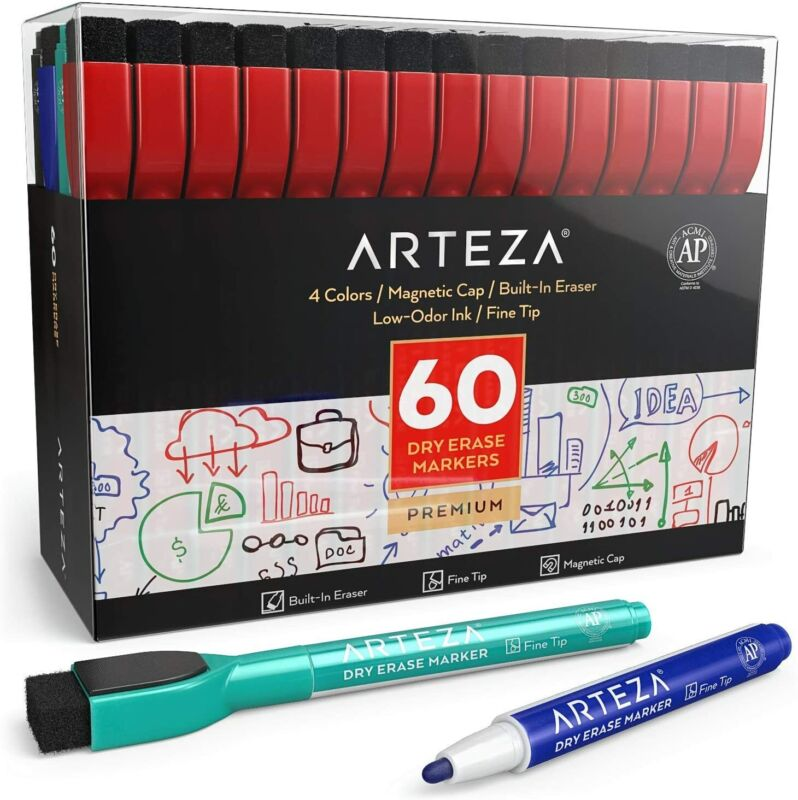 ARTEZA Dry Erase Markers, Fine Tip, Assorted Colors - Set of 60