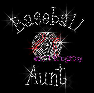Baseball-Aunt-C-Rhinestone-Iron-on-Transfer-Hot-Fix-Bling-Sports-School