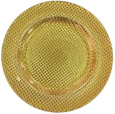 Cristal Grande Bandeja para Servir Cargador Placa Decorativa Oro 33cm de Cuadros
