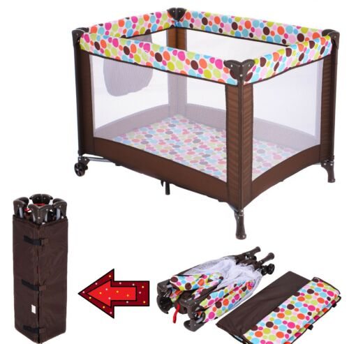 Baby Crib Portable Bed Toddler Travel Bassinet Foldable Playpen w/ Mattress Pad