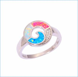 MULTI COLOURED CREATED FIRE OPAL RING AVAILABLE IN 3 SIZES.