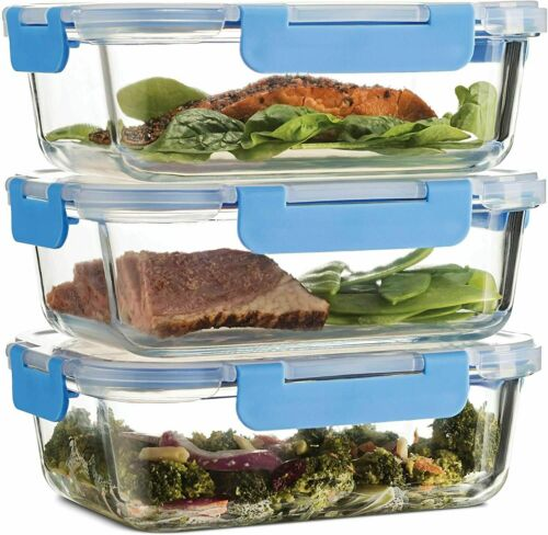 Glass Meal Prep Containers Food, Lunch Containers 3-Pack (35oz) BPA-free + Lids