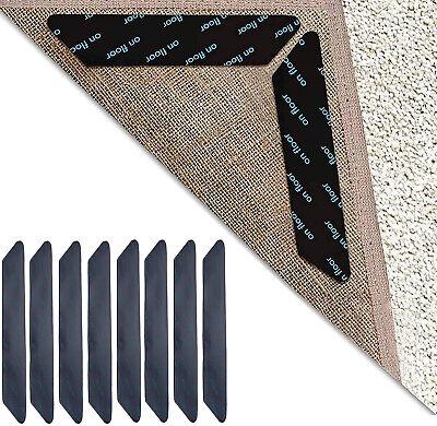 8PCS Carpet Mat Grippers Non Slip Rubber Rug Sticker Skid Tape Reusable Adhesive