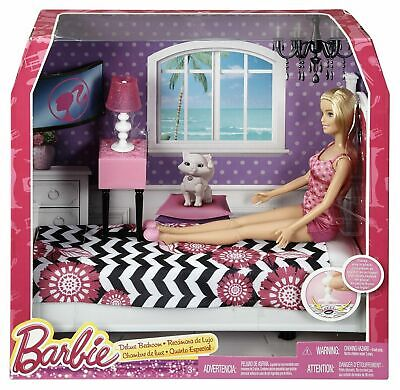 2014 Barbie Deluxe Bedroom Doll House w/Doll Pieces stay in place RETIRED