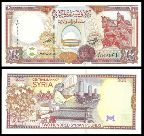 SYRIA 200 POUNDS 1997 P 109 UNC