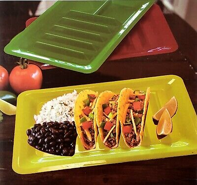 Set of Three Taco Holder Stand Up Divider Plates Multi Colored Plastic - Taco Holder Plate