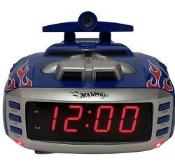 Hot Wheels Alarm Clock AM/FM Radio Projector Nightlight Engine Sounds Blue