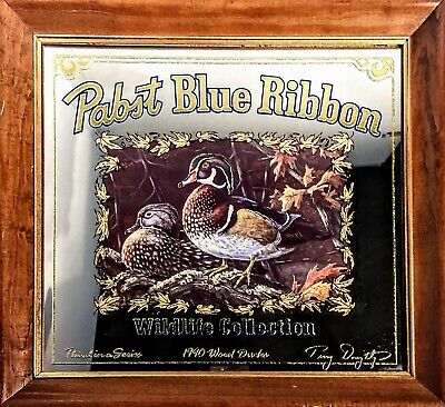 """Vintage Pabst Blue Ribbon Wood Duck Terry Doughty Art Mirror 1990 Framed 15""""x14"""""""