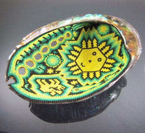 Huichol Beaded Art Large Prayer Bowl Mexican Folk Art Father Sun Abalone Shell