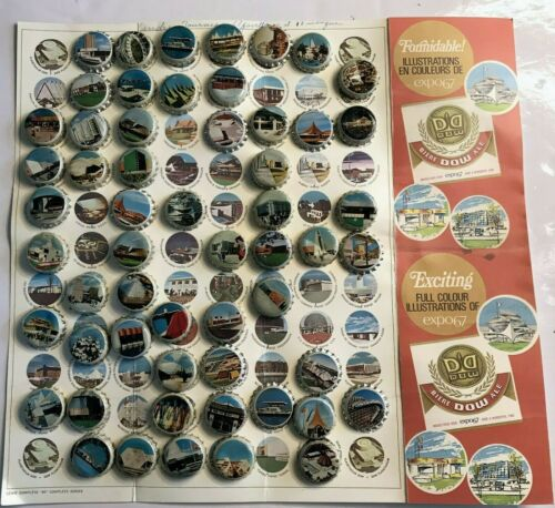 VTG EXPO 67 MONTREAL 56 LOT BOTTLE CAPS BEER DOW W FULL COLORS ILLUSTRATIONS