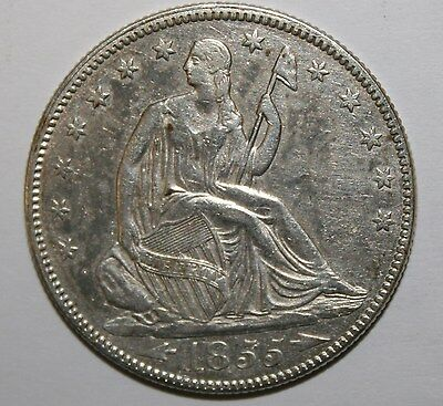 1855 W/ ARROWS SEATED SILVER HALF DOLLAR AU