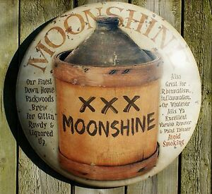 Moonshine Round Tin Metal Sign Americana Vintage Look Country Kitchen Shine