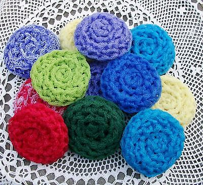 "4 Hand Crocheted Nylon Dish Scrubbies Your Choice of Colors Handmade by ""My Mom"""