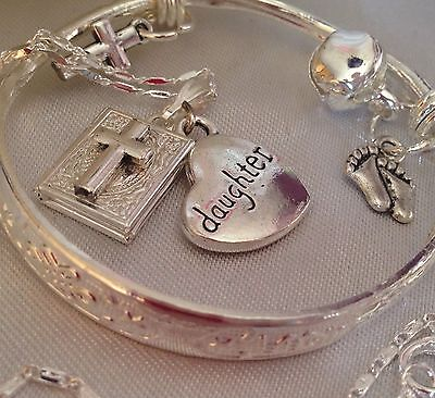 daughter/925 Bangle & cross Locket&tiny Toes//in A Box