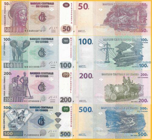 D.R. Congo Set 50, 100, 200, 500 Francs p-96 - 99 2013 UNC Banknote