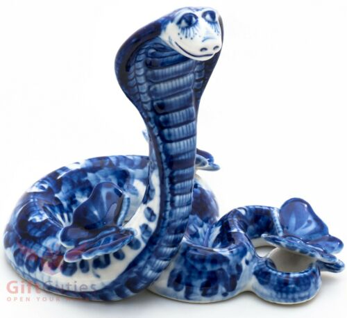 Gzhel porcelain figurine of the Cobra Snake with a butterfly handmade Гжель