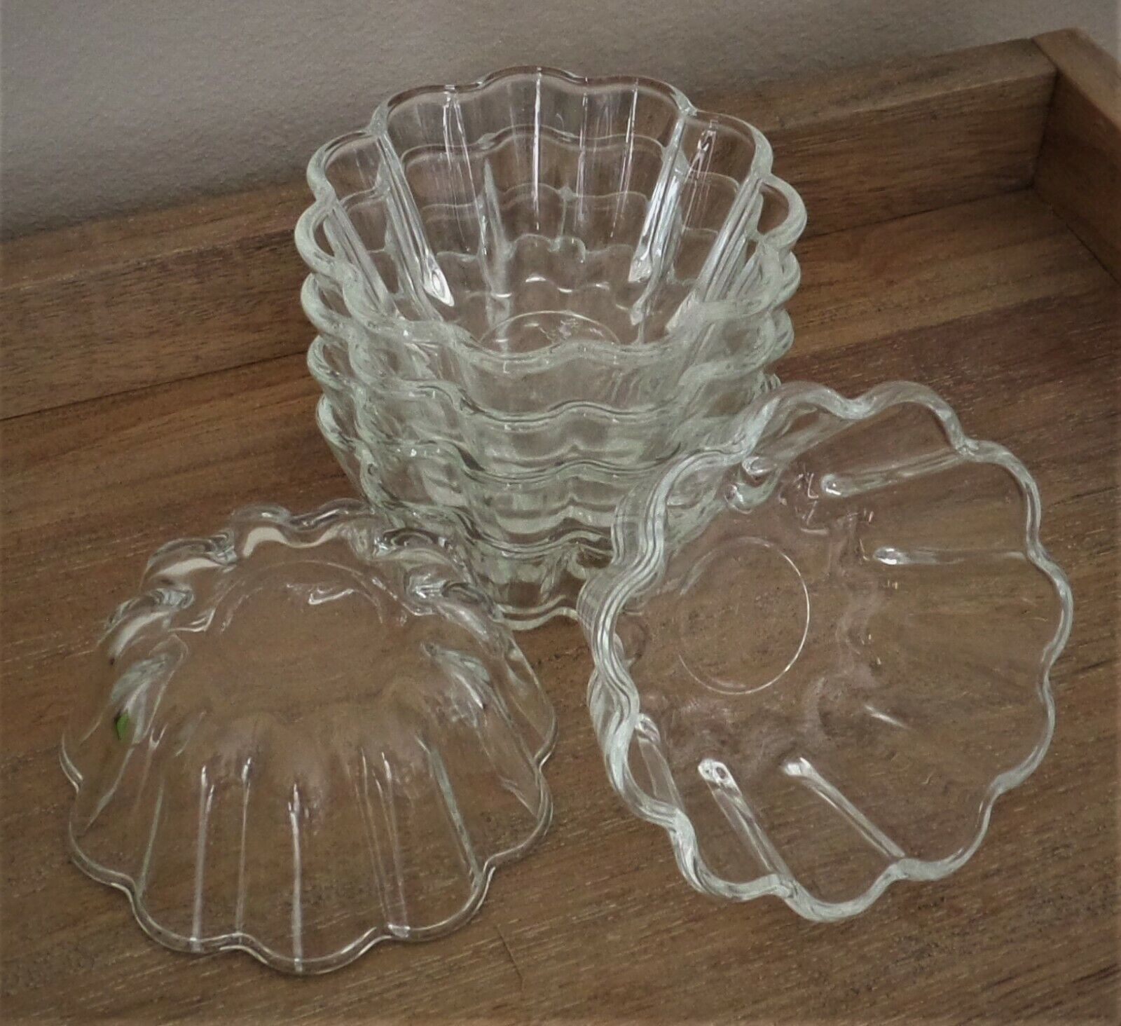 Lot of 6 Scalloped Glass Jello/Baking Molds/Dishes - Borcam Mini by Pasabahce