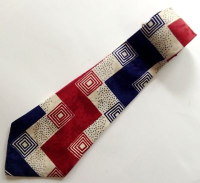 1940s Mens Ties | Wide Ties & Painted Ties Vtg 1940s Men's Swing Tie Cravat Bond Silk Maroon Blue Ivory Wide Rockabilly $74.95 AT vintagedancer.com
